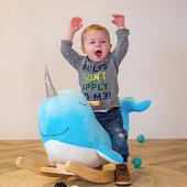 Party! 🥳 Nino the Narwhal came to our Tryco family 😍      #trycobaby #rockinganimal #rocking #rockingnarwhal #nursery #nurseryideas #nurseryinspo #nurserydecor #kidsroom #playroom #childrenstoys #playtime #narwhal #cuteness #cutenessoverload