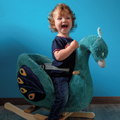Benthe is having so much fun with our Rocking Chair Peacock Pixie 🦚     #trycobaby #rockinganimals #rockinganimal #peacock #nurseryinspo #girlnursery #peacocknursery #mumswhostyle #babymusthaves #babygifts